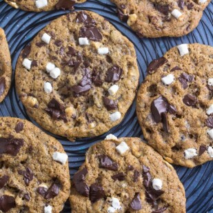 several low FODMAP S'more chocolate chunk cookies on black wire rack