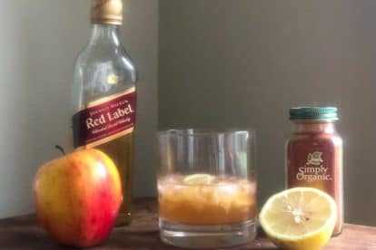 spicy apple old-fashioned with ingredients