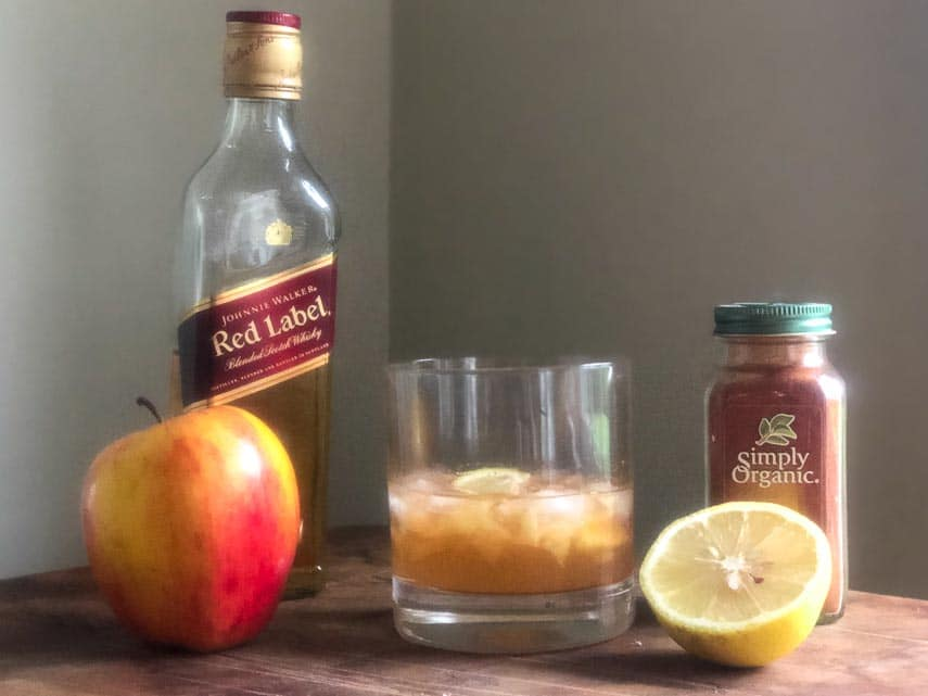 low FODMAP spicy apple old-fashioned with ingredients