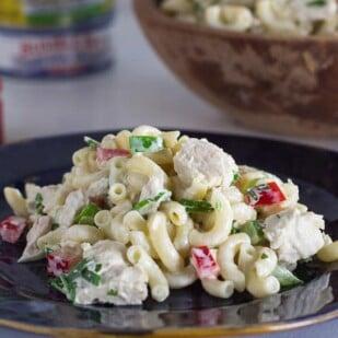 Low FODMAP Tuna Macaroni Salad closeup