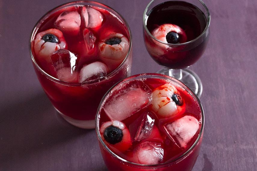 Bloody eyeball Cocktails and Mocktails drinks in clear glasses