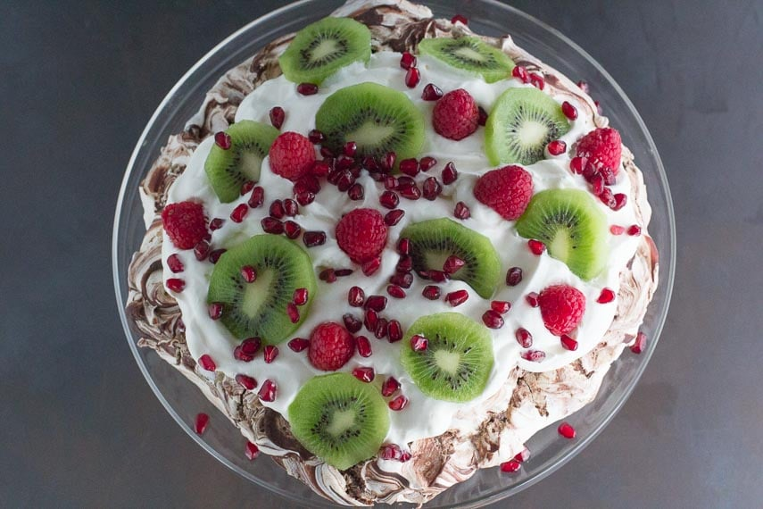 Low FODMAP Chocolate Pavlova with Pomegranate, Raspberries & Kiwi, overhead shot