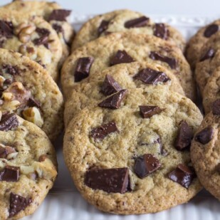 Low FODMAP One-Bowl Chocolate Chunk Cookies closeup