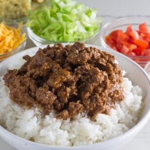 Low FODMAP all beef chili closeup on rice