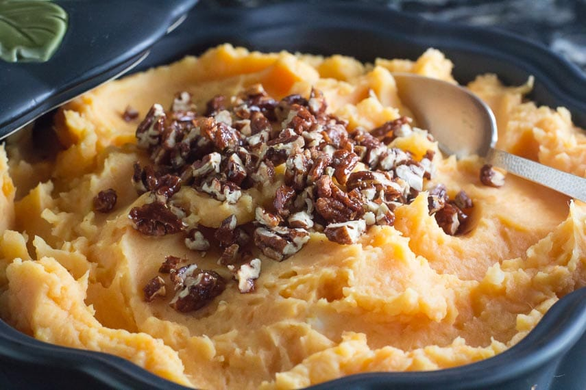 closeup of low FODMAP Mashed sweet potatoes with candied spiced pecans
