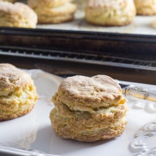 closeup of flaky low FODMAP biscuit
