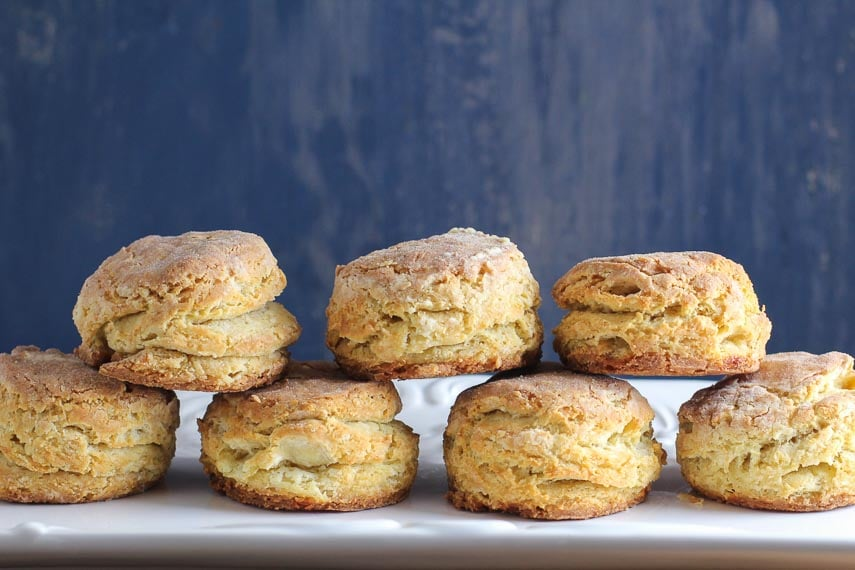 flaky, buttery low FODMAP biscuits against blue background