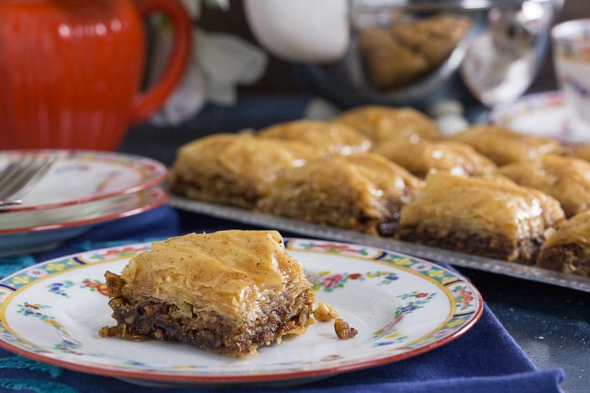 low FODMAP walnut baklava on a plate; side view