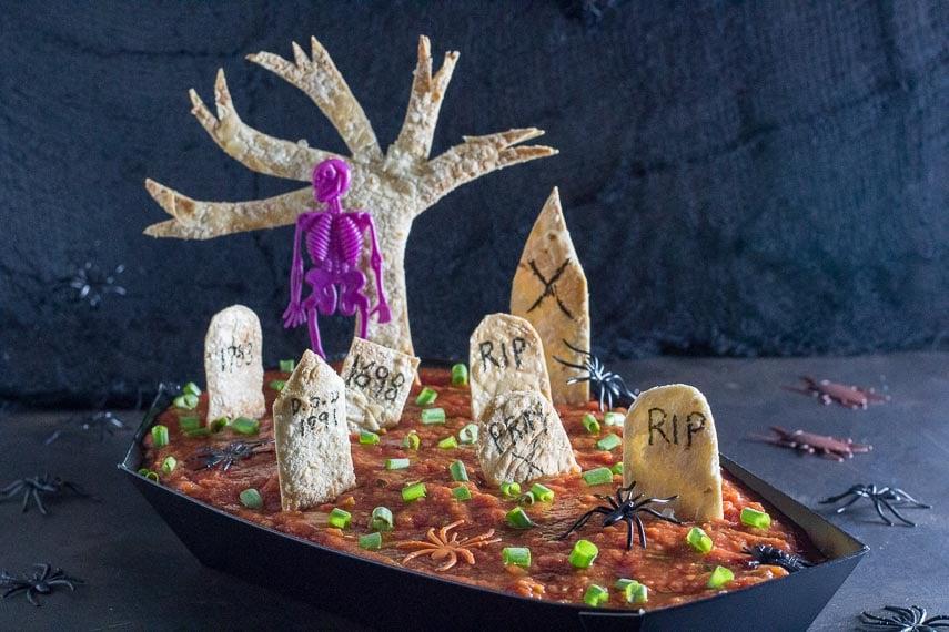 low FODMAP spooky Graveyard 7 layer dip