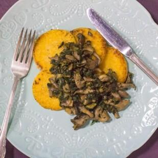 overhead image of Low FODMAP Polenta with Sautéed Mushrooms & Kale