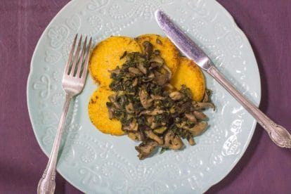 overhead image of Low FODMAP Polenta with Sautéed Mushrooms & Kale