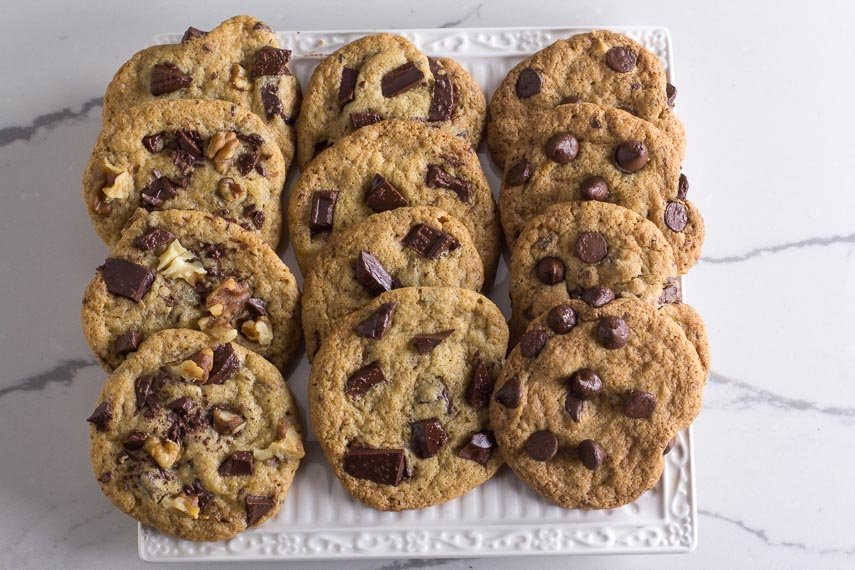 overhead image of low FODMAP One-Bowl Chocolate Chunk Cookies