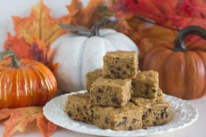 pumpkin spiced mocha latte blondies on white plate