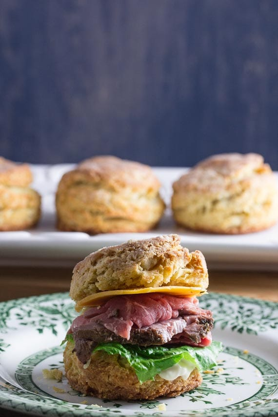 roast beef and cheddar sandwich on a low FODMAP biscuit