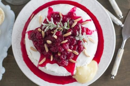 Low FODMAP Baked Brie with Cranberries, rosemary and orange