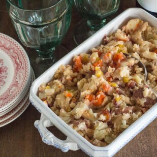 Low FODMAP Mashed Potatoes, Parsnips & Carrots in an oblong casserole
