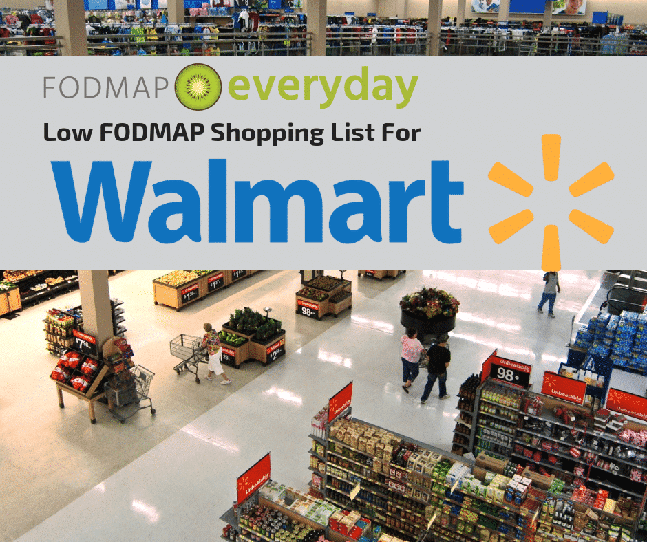 "Overhead image of Walmart shopping center with shoppers walking with shopping carts. Text overlay reads ""Low FODMAP shopping list for Walmart"""