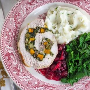 Low FODMAP Kale & Butternut Squash Stuffed Turkey Breast