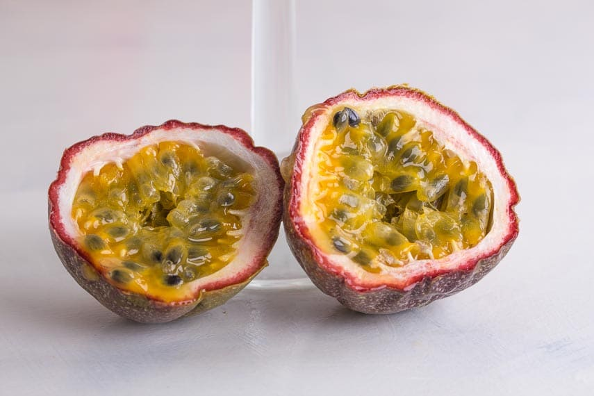 closeup of cut open passion fruit