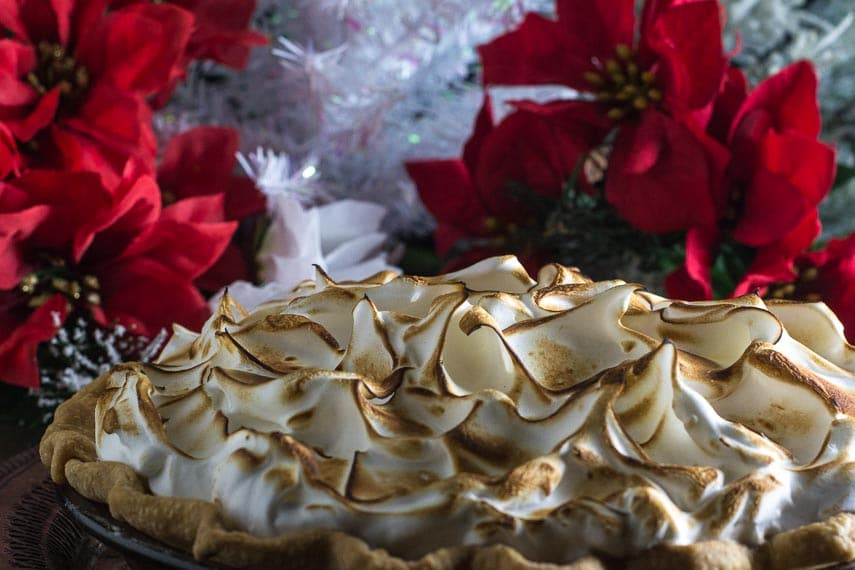 closeup of meringue topping on low fodmap cranberry snowdrift pie