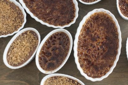 closeup overhead of low fodmap chocolate creme brulee