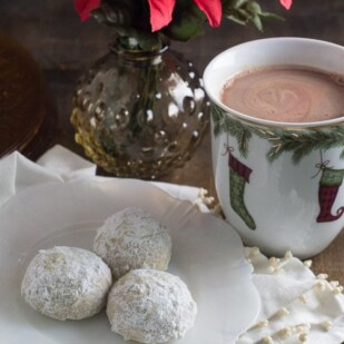 low FODMAP Mint Hot Chocolate in a mug with cookies on a plate