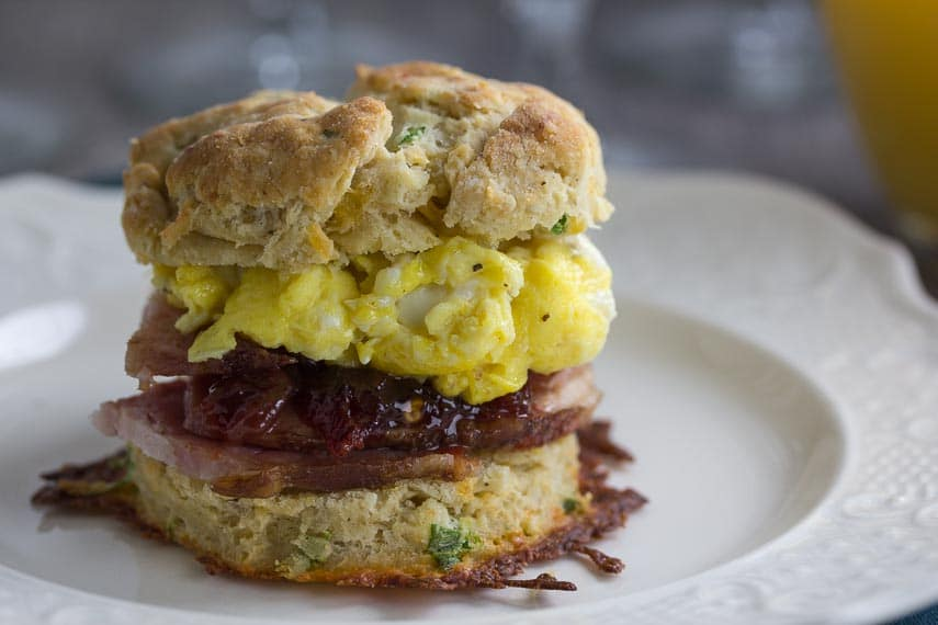 low fodmap cheddar scallion biscuit stuffed with scrambled eggs and ham