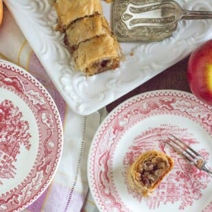 overhead image of low FODMAP apple strudel on red and white plate with apples in background