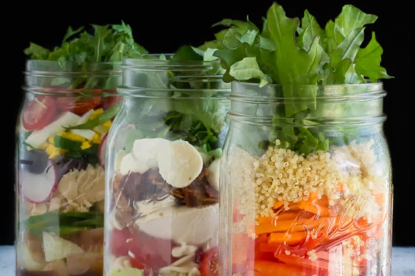 Low FODMAP Mason Jar Salads in glass jars