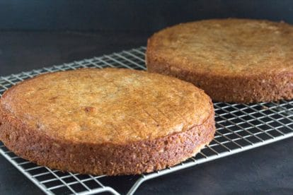 basic low FODMAP Buttermilk Banana Cake cooling on rack
