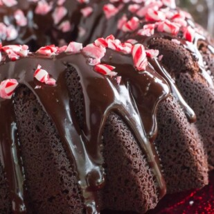 closeup of low FODMAP Chocolate Peppermint Cake, sideview on red plate