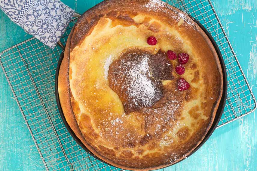 Low FODMAP Dutch Baby Pancake in skillet