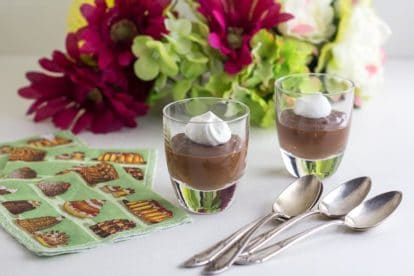 Low FODMAP Irish Whiskey Chocolate Mousse in small glass cups, spoons alongside
