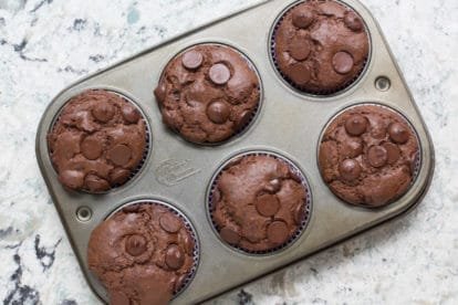 low FODMAP Double Chocolate Muffins in pan on quartz surface