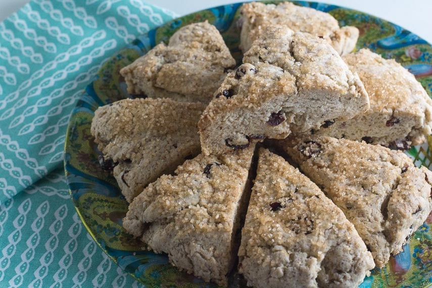 closeup of stacked low FODMAP vegan scones on decorative plate
