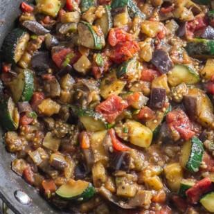 Quick & Easy Low FODMAP Eggplant Zucchini Tomato Pasta Sauce in skillet