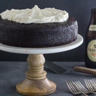 low FODMAP Black Velvet Chocolate Guinness cake with forks alongside