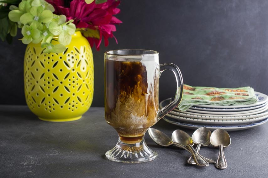 low FODMAP Irish Coffee in clear glass mug