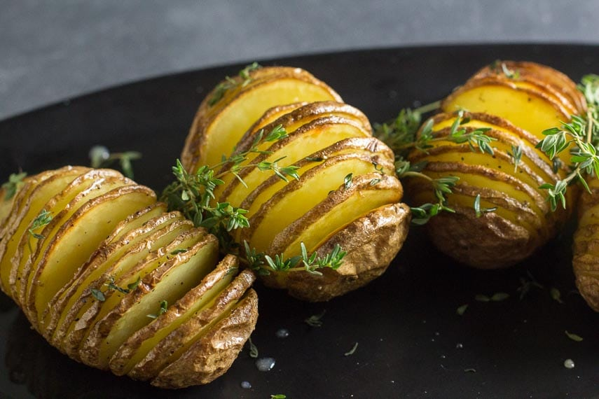 low FODMAP hasselback potatoes with fresh thyme