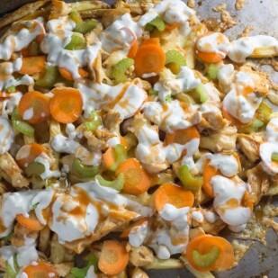 overhead of low FODMAP Buffalo Chicken Fries on sheet pan