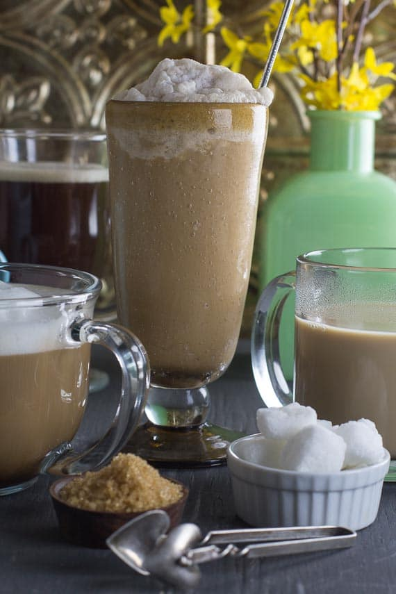 vertical image of coffee drinks
