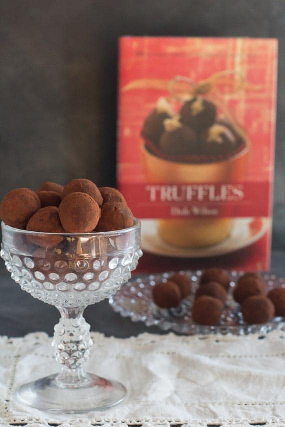 vertical image of low FODMAP dark chocolate truffles