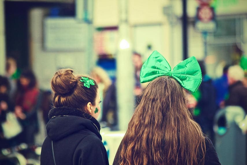 women at a St. Patrick's Day parade