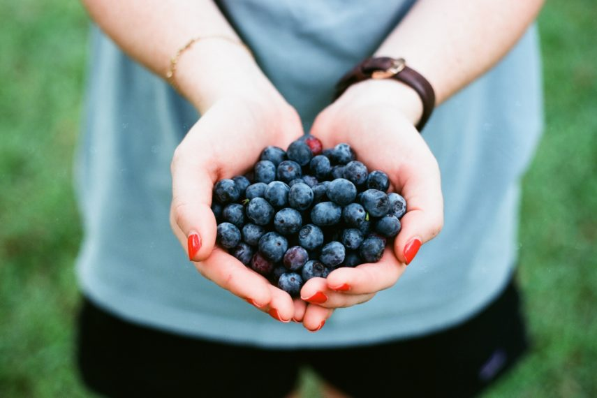 a woman holding blueberries in her hand