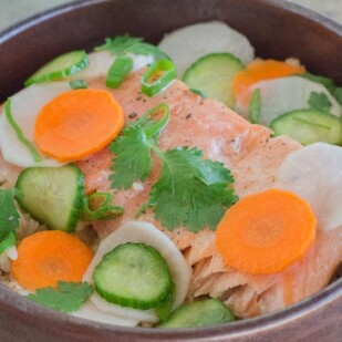 Low FODMAP Salmon Brown Rice Nourish Bowl with Quick Pickles closeup