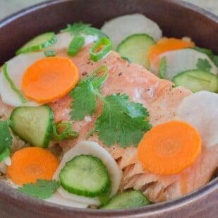 Low FODMAP Salmon Brown Rice Nourish Bowl with Quick Pickles closeup