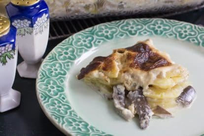 closeup low FODMAP potato cheese gratin with mushrooms on green plate