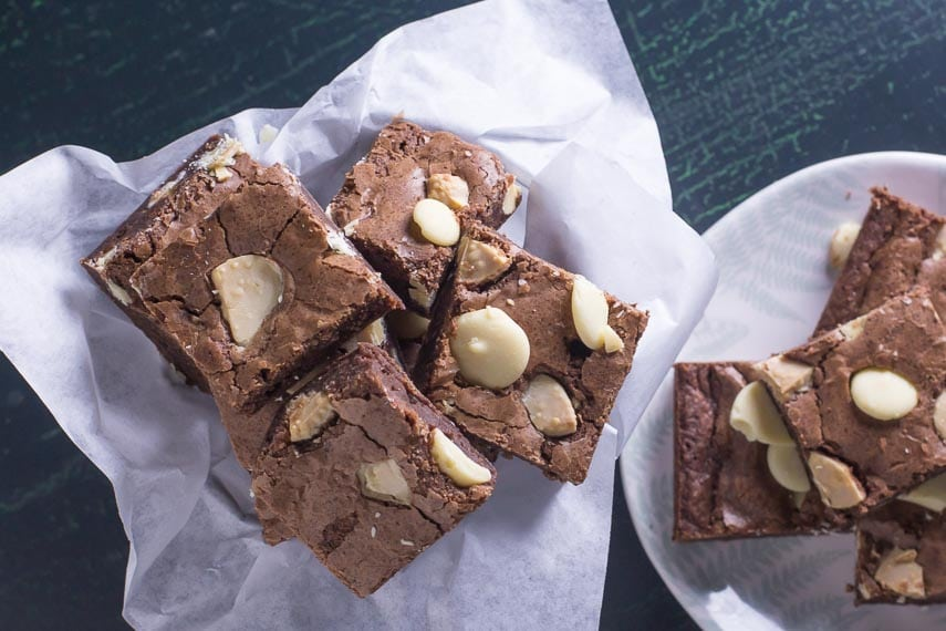 low FODMAP black & white brownies closeup in basket and on a plate