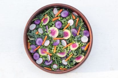 overhead image of vegan version of low FODMAP Greens Salad with Radishes & Peas in wooden salad bowl