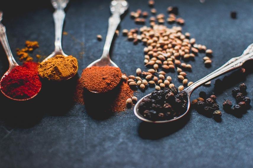 spices on a dark background